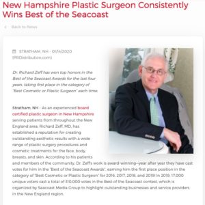 "Dr. Richard Zeff Wins Title of ""Best Cosmetic or Plastic Surgeon"" in Seacoast Magazine Four Years in a Row"